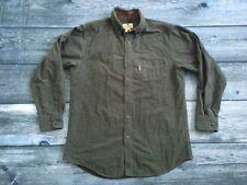 Men's WOOLRICH Button Long Sleeve Shirt Green Heather Size Medium Flannel