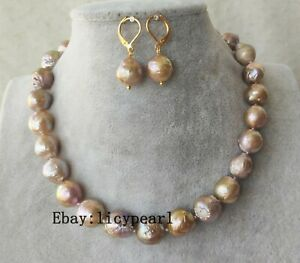 12-14 mm Lavendel Edison Barock Perlenkette & Ohrringe gesetzt