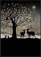 Bug Art Christmas card embossed foil/jewel effect 'Christmas Woodland' SINGLE