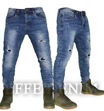 Jeans uomo Denim strappi slim pantaloni Blu elasticizzati nuovo 2111 Effe Denim