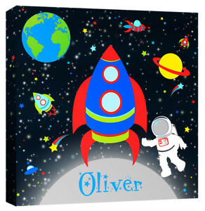 Personalised Space Astronaut - Boys Name Rocket Galaxy Canvas Art Print Picture
