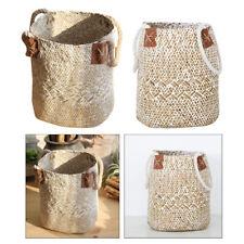 2x Natural Grass Woven Flower Planter Clothes Hamper Shopping Basket White