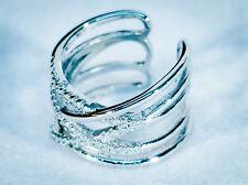 Silberring Silber Ring 925 mit Zirkonia Steinen gekreuzt Edel Neu Universal 5gr