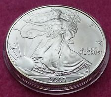 2007 SILVER EAGLE  $1 ONE DOLLAR COIN - LOVELY COIN  ENCAPSULATED