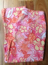 Lilly Pulitzer Sz 10 Multicolor Tropical Hibiscus Floral Classic Cropped Pants