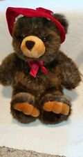 "JCPenney Holiday Collection Teddy Bear 26"" Brown Red Hat Christmas Big Plush"