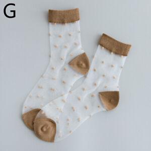 1Pair Ankle Socks Mesh Short Sock Elastic Hosiery Polka Dot Silk Invisible Socks