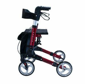 Antar Premium Rollator Leichtgewicht Rot 3 fach faltbar Rückengurt leicht Alu