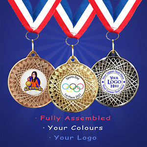 50mm Pre-School Sports Day Medals + Ribbon + Engraving + Your Own Logo