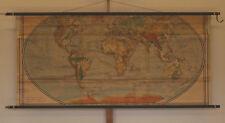 Schulwandkarte schöne alte physiche Weltkarte 213x98cm vintage world map ~1941