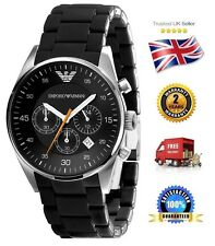 NEW Emporio Armani AR5858 Men's Gents Black Sportivo Chronograph Watch Date Dial