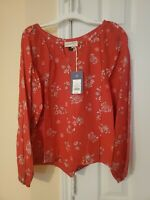 NEW Universal Thread Women's Long Sleeve Printed Woven Top – Red - Size S