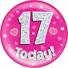 "6"" Jumbo Badge 17 Today Pink Holographic Dot"