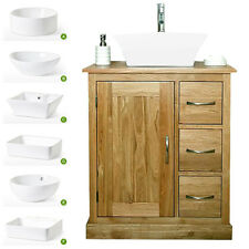 Solid Oak Vanity Unit %7c Bathroom Wash Stand Cloakroom Corner Basin Sink Tap