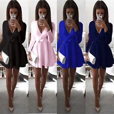 Women Long Sleeve Plunge V Neck Skirt Dress Evening Party Mini Skater Dress 6-14