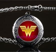 Wonder Woman Photo Cabochon Glass Gun Black Locket Pendant Necklace