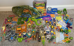 Lot of Vintage TMNT Figures, Vehicles, Weapons, Parts and more *See Pics*