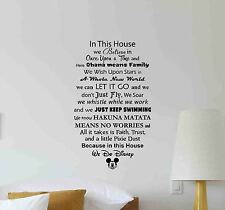 In This House We Do Disney Wall Decal Quote Vinyl Sticker Poster Decor Mural 670