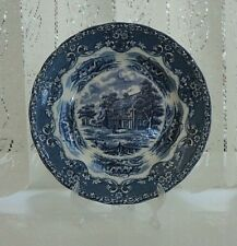 "WHGrindley&Co.Ltd.Blue & White Plate""EnglishCountryInns"" 8""dia.TheLeatherBottle"