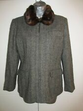 Womens LAUREN by RALPH LAUREN Petite Grey Silk Wool Jacket Coat Size 4P/UK 8 / S