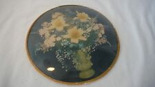 Vintage~~Botanical~Flowers~Vase on Black~Bubble Glass Pictures~Round~Garden Art~