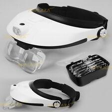 Headband Head-mounted 2 LED Lamp Light Jeweler Magnifier Magnifying Glass Loupe