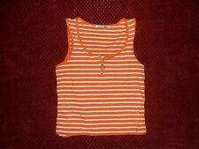 "RED PAINT Stretch Tee jrs sz L (32"" chest)Orange White Striped Tank top w/zipper"