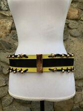Vintage Woman'S Gianni Versace Black Leather & Gold Low Slung Belt S/m