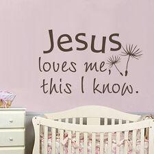 Jesus Loves Me Wall Sticker Religious Inspiration Saying Boy Girl Bedroom Decor