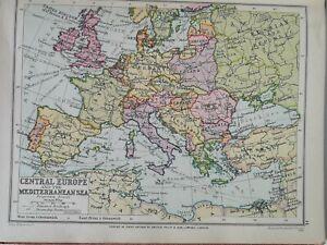 "c. 1930s VINTAGE PHILLIP'S CROWN ATLAS Page ""CENTRAL EUROPE & MED. SEA"" PLATE16"