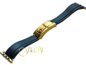 Custom 44 Rolex Deployment Oysterflex Black 24k Gold Buckle fits Any Apple Watch