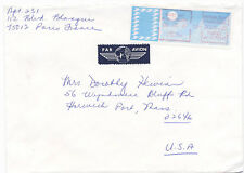 France 1987 ATM Computer Vended Postage Stamp Airmail Cover Paris to USA