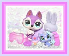 ❤️Authentic Littlest Pet Shop LPS #2297 Sparkle Glitter HUSKY Dog Wolf Purple❤️