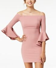 New $100 Teeze Me Juniors Pink Off Shoulder Ruffle Sleeve Body-Con Dress Size 5
