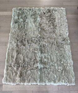 "NEW $1,195 ADRIENNE LANDAU Grey/Jade Authentic Rabbit Fur Throw 50""x70"" BARNEYS"