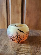 Yankee Candle Halloween Bats Trees Round Tealight Holder Orange Frosted New
