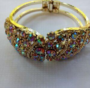 Beautiful Sparkling Vintage AB Rhinestone Clamper Bracelet