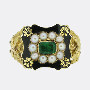 Georgian Emerald and Pearl Mourning Ring 15ct Yellow Gold Circa. 1830s
