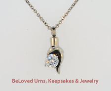 Teardrop With Large CZ Cremation Jewelry Pendant Keepsake Urn w/ Chain & Funnel