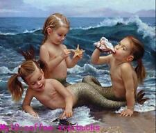 """Art Repro oil painting:""""Lovely girls Mermaid Portrait at canvas"""" 36x48 Inch"""