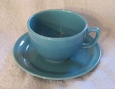 Vintage Fiestaware-like Coffee Cup and Saucer Set Robin Egg Blue