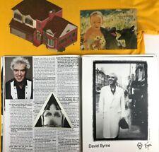 David Byrne Lot - shirt, photo, Vip badge, magazine & Talking Heads postcard