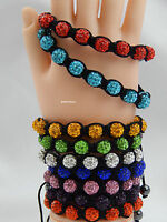 Crystal Shamballa Bracelet 9 Disco Clay Balls 10 mm Adjustable, No Metal
