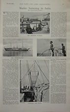 1898 BOER WAR ERA PRINT ~ MARINE SURVEYING INDIA TRAWL INVESTIGATOR ~ CARPENTER