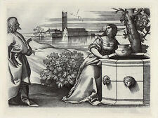"""1800s CAMPAGNOLA """"Christ and the Woman of Samaria"""" DURAND Engraving FRAMED FCOA"""