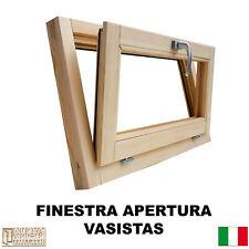 Finestra in legno lamellare grezzo cm L 90 X 50 H vasistas,levigata,doppio vetro