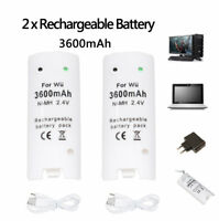 2X Rechargeable Batteries Pack + Cable For Nintendo Wii Remote Controller White