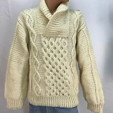 VTG Mens Sweater Cable Knit Handmade Cream Collar Pullover Norwegian Pockets M/L