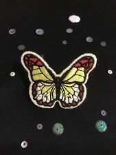 Handmade Yellow Butterfly Brooch. Vintage Style Butterfly Pin Badge.