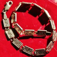 "10k yellow gold bracelet 7.25"" Grecian key link vintage handmade 3.5gr  N2549B"